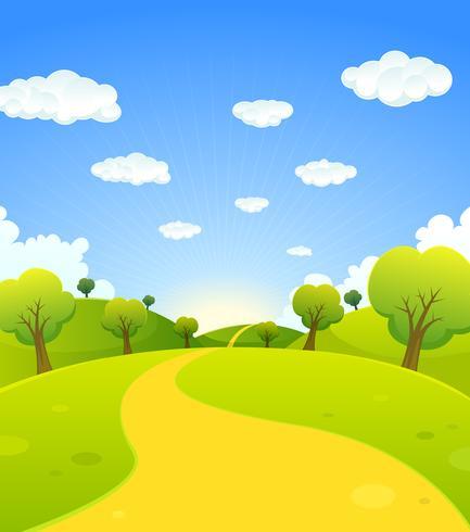 Paisaje de primavera o verano de dibujos animados vector