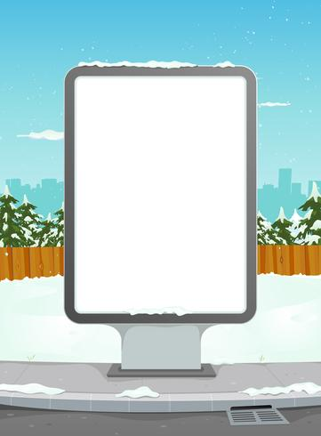 White Billboard On Winter Urban Background