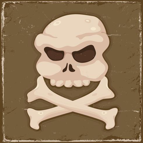 Cráneo vintage y huesos cruzados vector