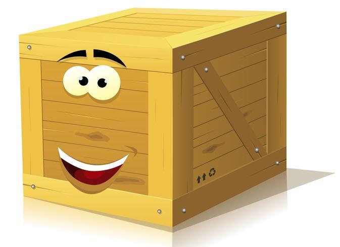 Personagem de caixa de madeira dos desenhos animados