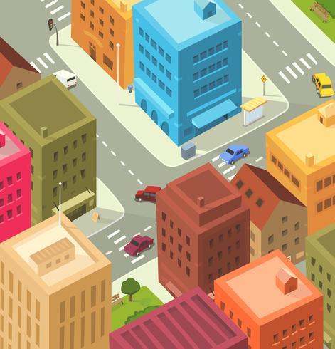 tecknad stad - centrum vektor