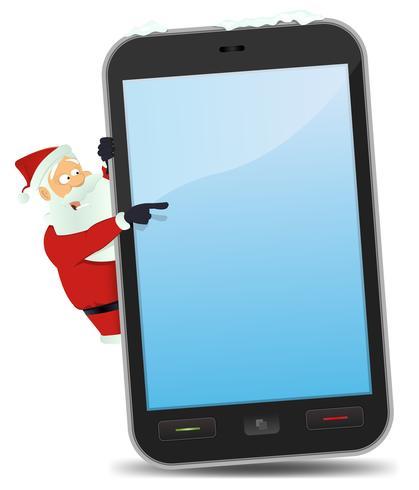 Santa apontando Smartphone vetor