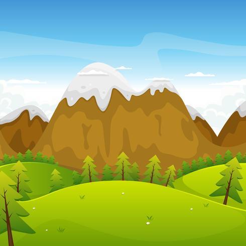 Paisagem de montanhas dos desenhos animados vetor