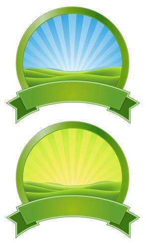 Green Sunrise Banners vector