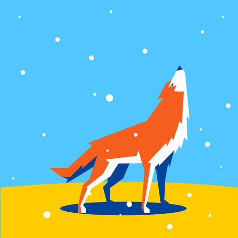 Animales de forma simple geométrica lobo