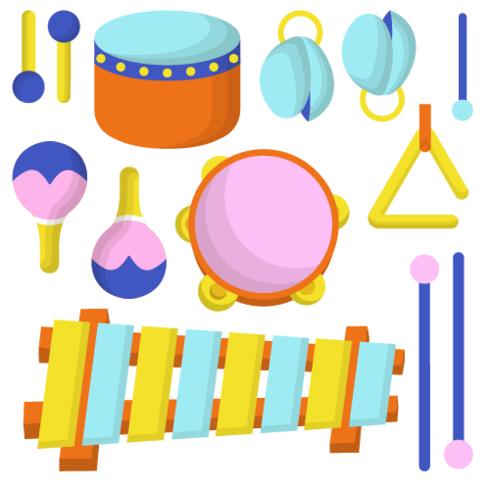 Instrumento musical de Knolling Vector