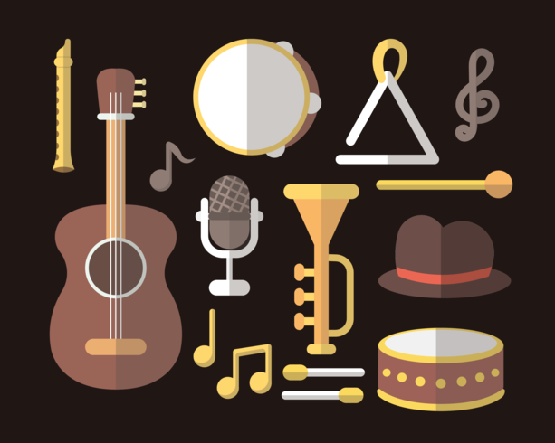 Musical Instrument knolling vektor