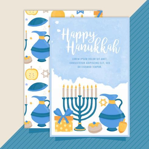 Tarjeta feliz de Hanukkah del vector