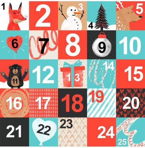 Calendario di avvento stampabile disegno vettoriale