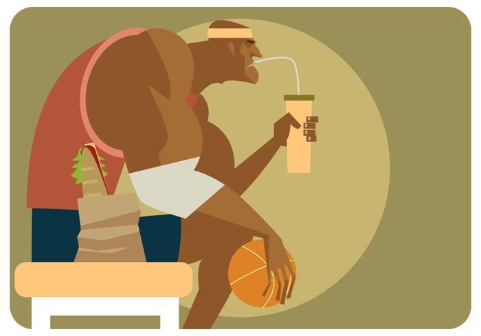 Basket Player neemt een pauze-vector