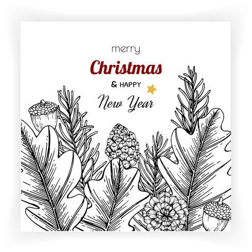 Navidad y año nuevo fondos y tarjeta de felicitación