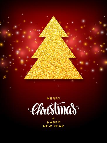 Christmas tree with glitter fill holiday design vector