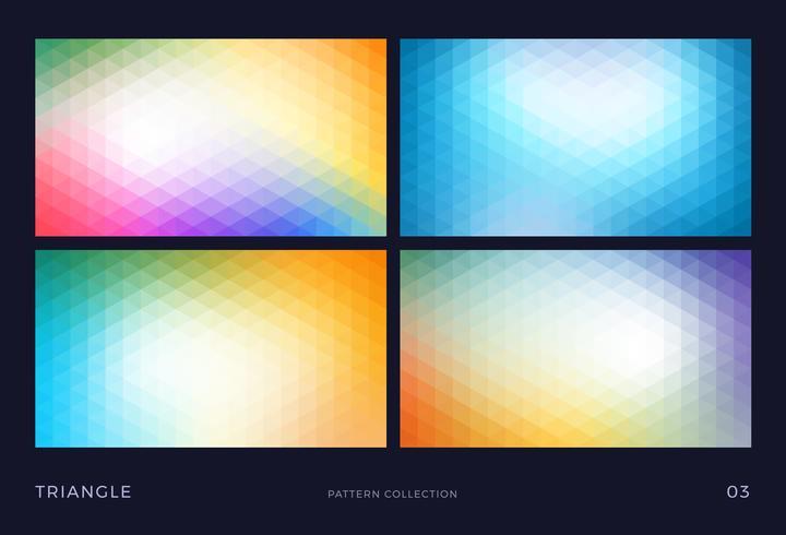 Conjunto de fondos abstractos coloridos triángulo vector mosaico