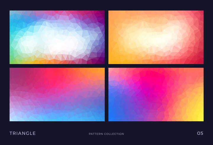 Colorful abstract triangle vector mosaic backgrounds set