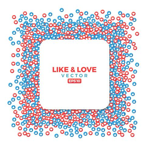 Gosta e ama símbolos de sites sociais