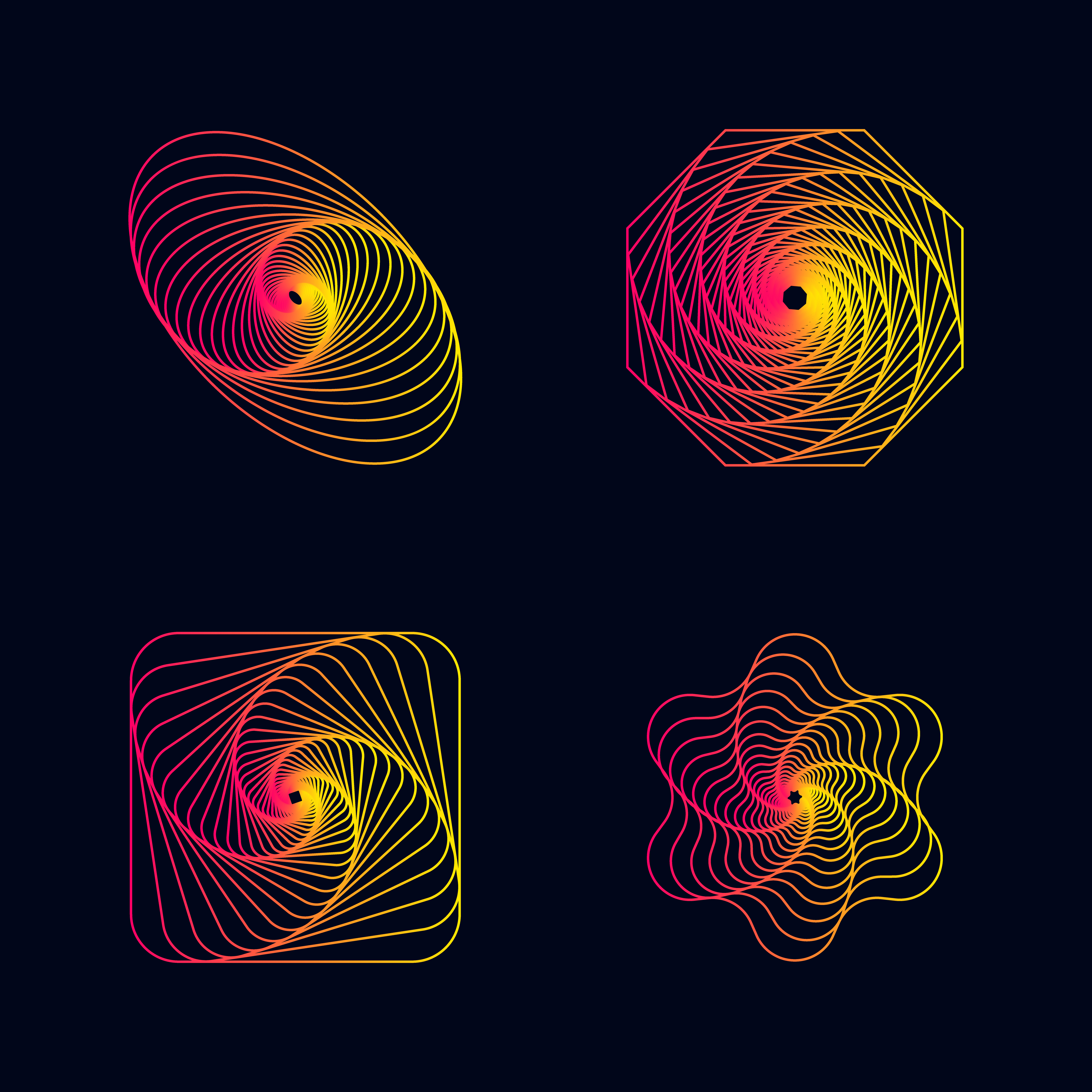 Vector Illustration Web Designs: Gradient Line Spiral Designs Elements