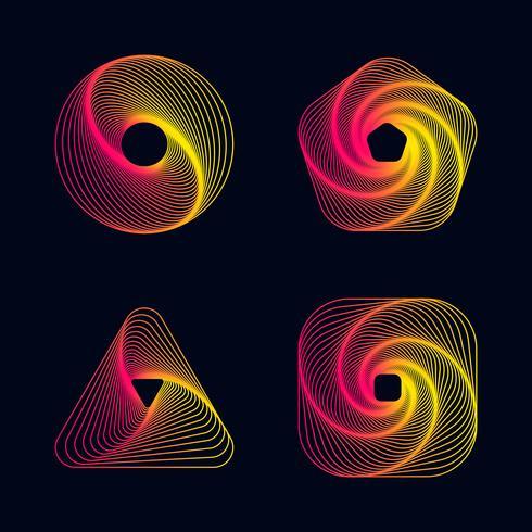 Gradient line spiral design element vektor