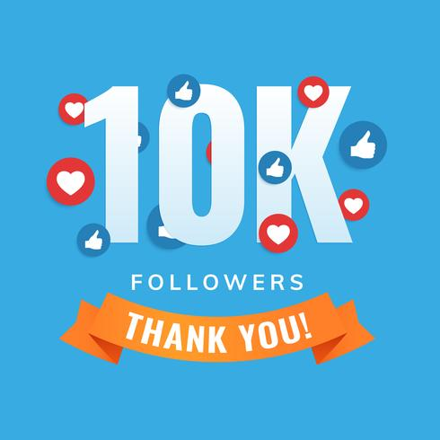 10k followers social sites post greeting card