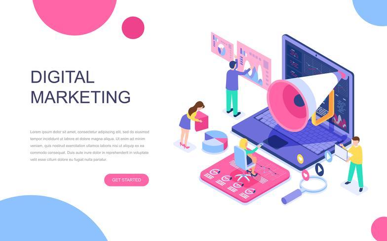 Diseño plano moderno concepto isométrico de marketing digital.