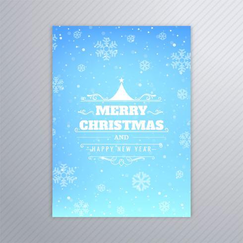 Vector feliz hermoso del diseño del folleto de la tarjeta del árbol de navidad