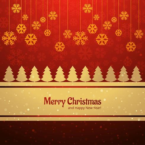 Árbol de feliz Navidad tarjeta con vector de fondo copo de nieve