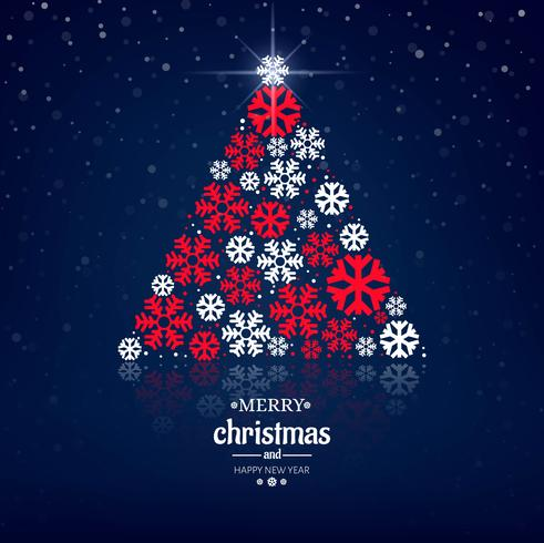 Fondo decorativo de la tarjeta de Navidad del árbol del copo de nieve