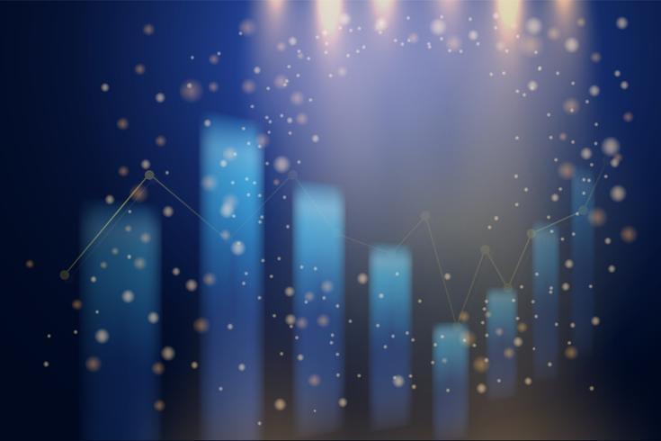 Tabla abstracta del gráfico del palillo de la vela del negocio y CC de la luz que cae