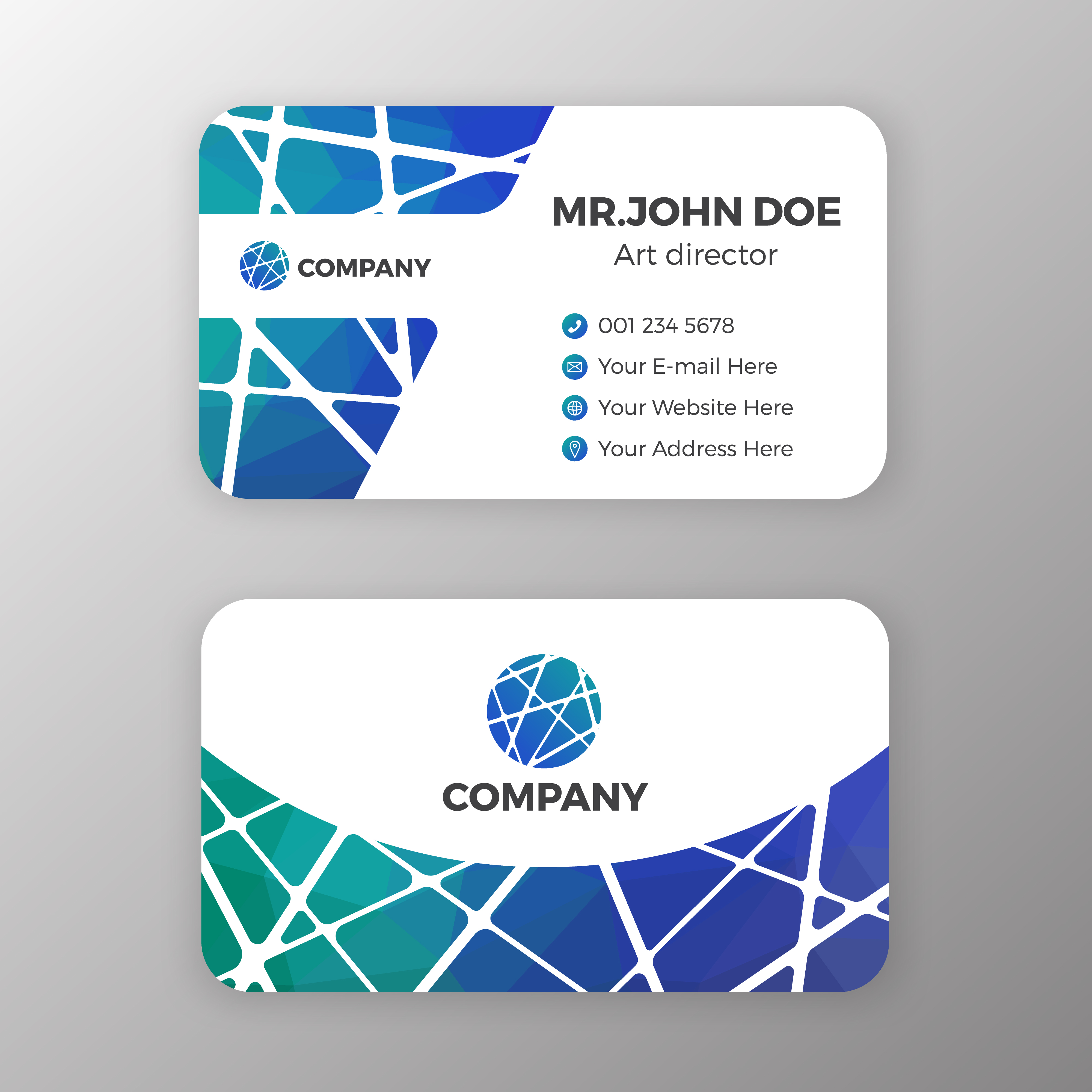 abstract mesh and polygonal name card template design