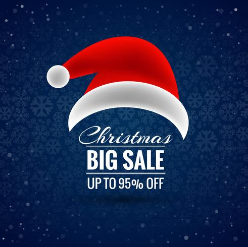 Merry christmas santa hat big sale background vector