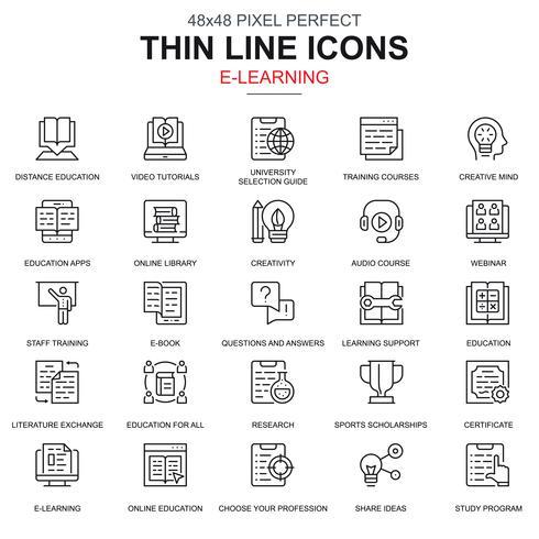 Linha fina educação on-line e-learning e-book conjunto de ícones