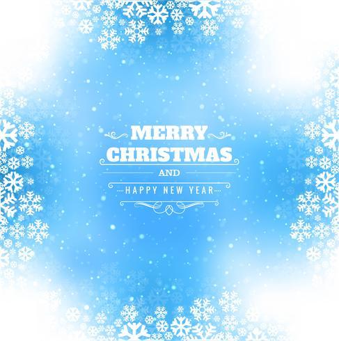 Tarjeta de Navidad feliz hermosa brilla con fondo de copo de nieve