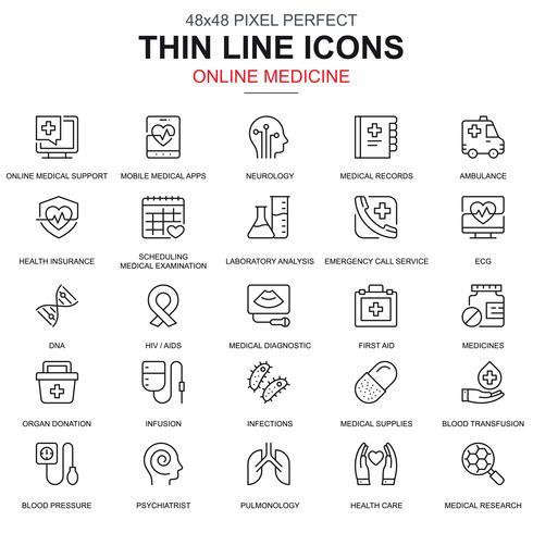 Línea fina de salud y medicina, iconos de equipos médicos