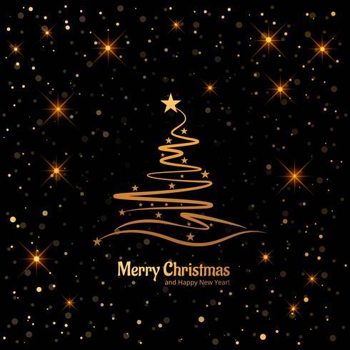 Karte der frohen Weihnachten mit dekorativem Baumglänzendem Funkeln backgro
