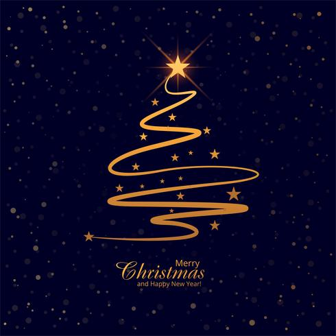 Beautiful merry christmas tree card background vector