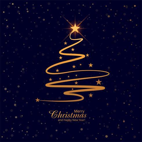 Schöner fröhlicher Weihnachtsbaumkarten-Hintergrundvektor