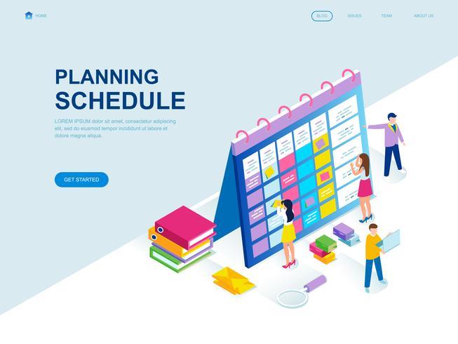 Modern planlösning isometrisk koncept för planeringsschema