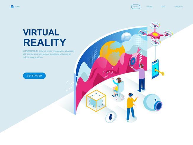 Conceito isométrico de design moderno plano de realidade virtual aumentada