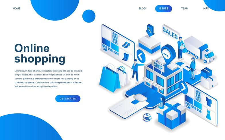 Concepto de diseño isométrico moderno de compras en línea vector