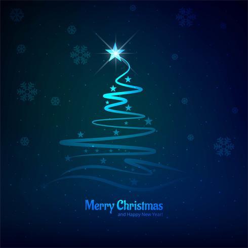 Karte der frohen Weihnachten mit glänzendem Baumblauhintergrund