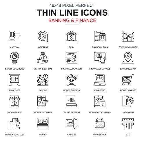 Conjunto de ícones de banca e finanças de linha fina
