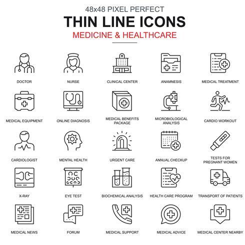 Linea sottile assistenza sanitaria e medicina, set di icone di servizi