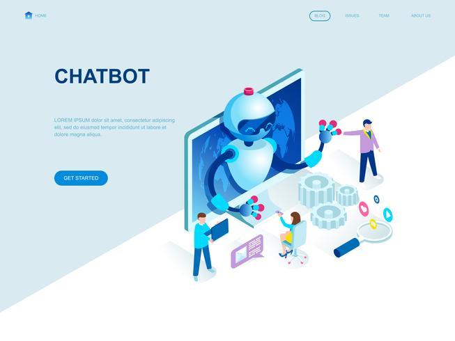 Concept isométrique de design plat moderne de Chat Bot