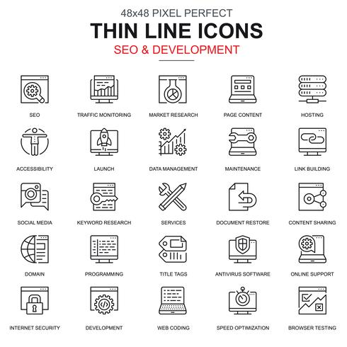 Thin line SEO and development icons set
