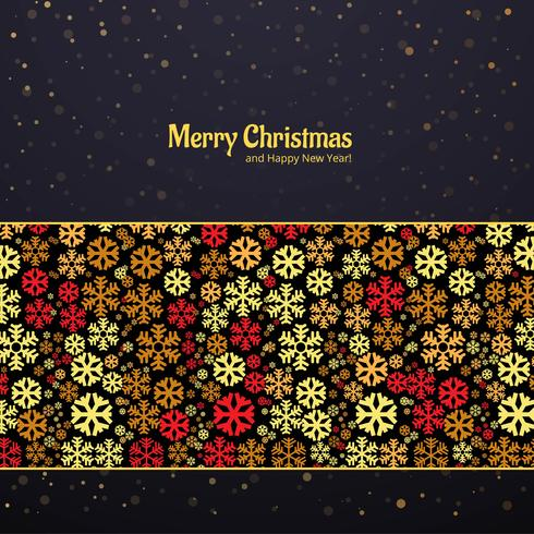 Schöne Karte mit bunter Schneeflocke frohen Weihnachten backgroun
