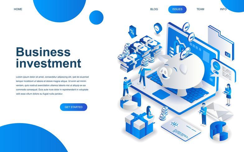 Concepto de diseño isométrico moderno de la inversión empresarial.