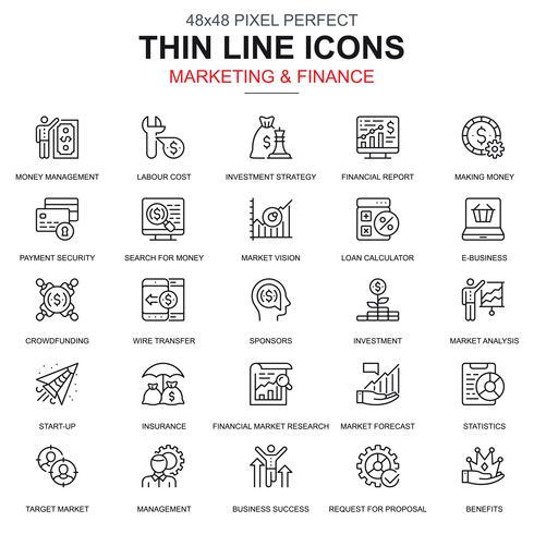 Dunne lijnmarketing en financiën geplaatste pictogrammen