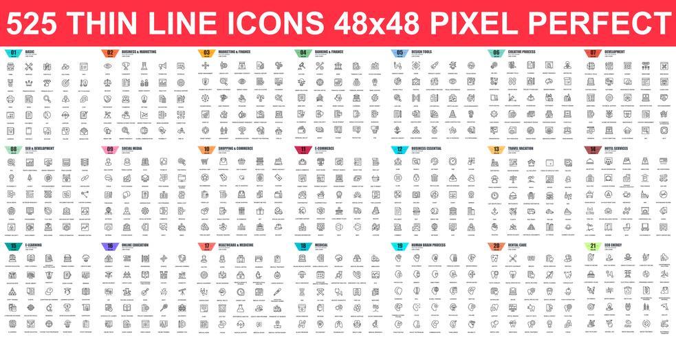 Conjunto simples de ícones de linha fina de vetor