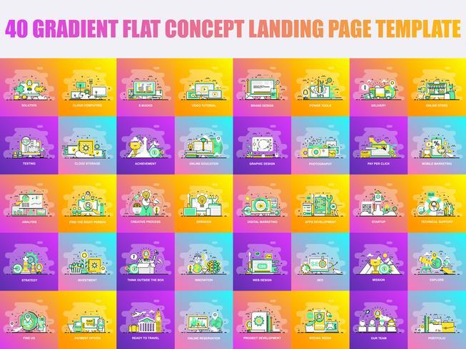 Set di modelli di pagina di atterraggio design di linea piatta