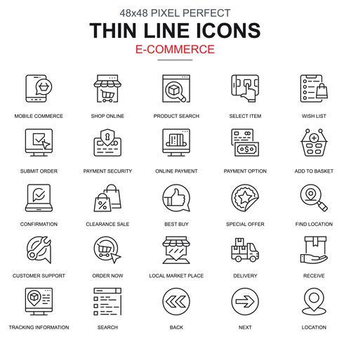 Conjunto de iconos de compras y comercio electrónico en línea delgada