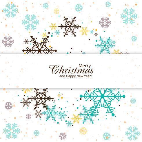 Bunter Kartenhintergrund der frohen Weihnachten der Schneeflocke